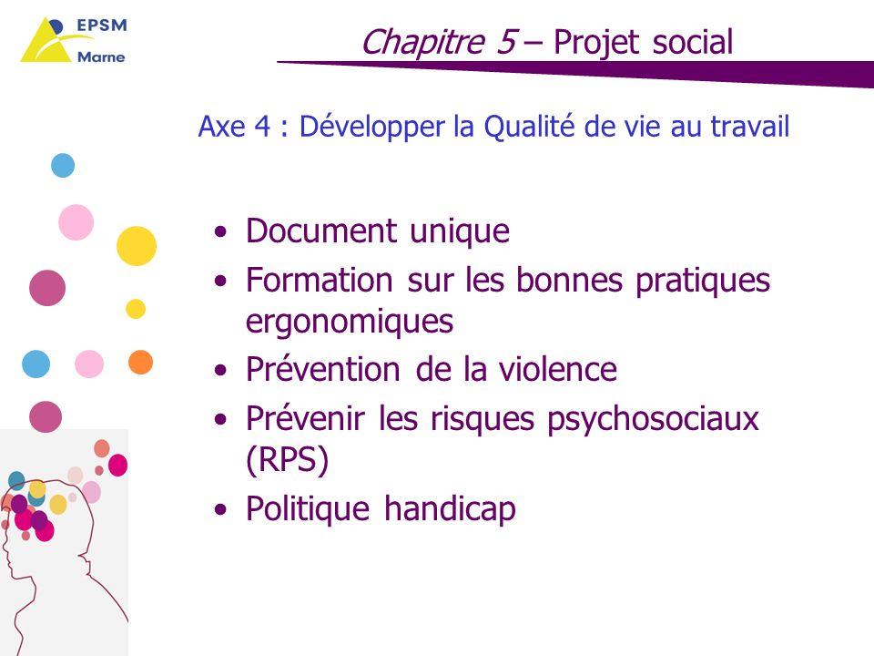 Axe 4 : Développer la Qualité de vie au travail