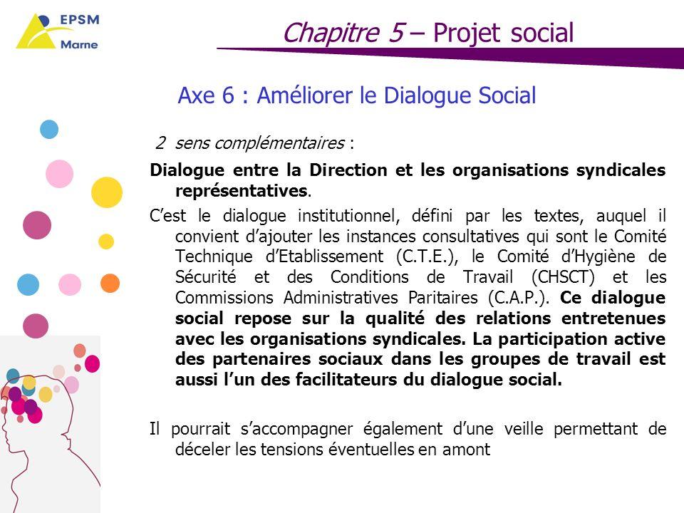 Axe 6 : Améliorer le Dialogue Social
