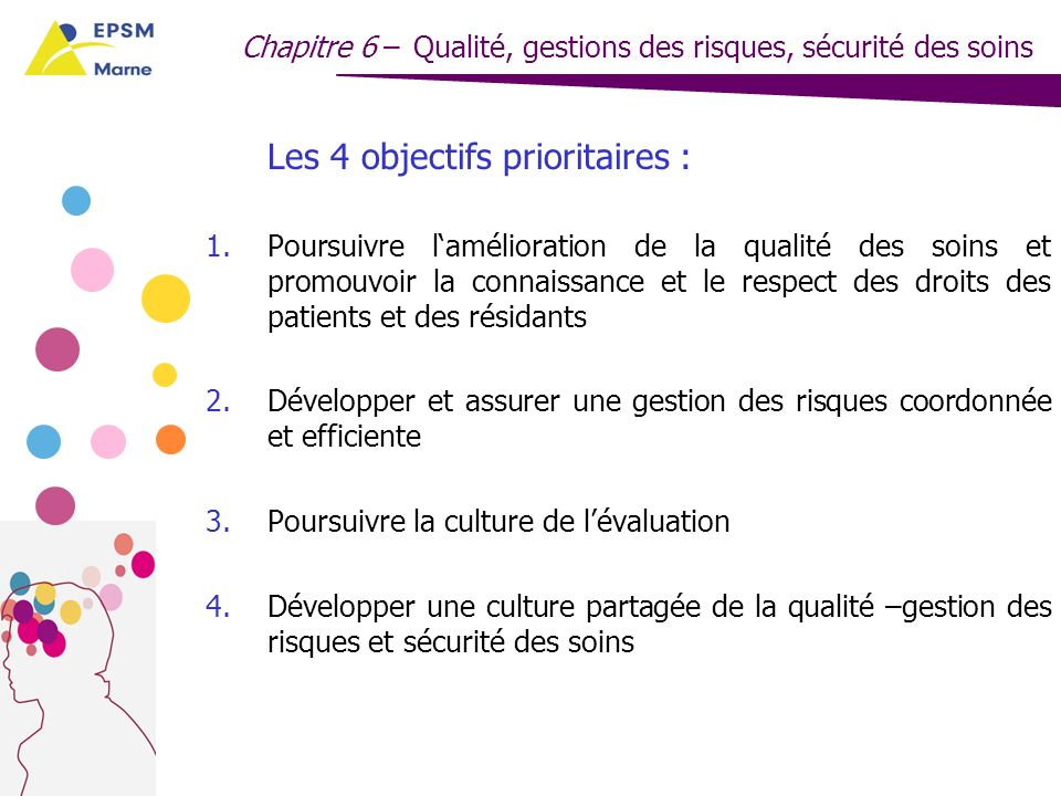 Les 4 objectifs prioritaires :