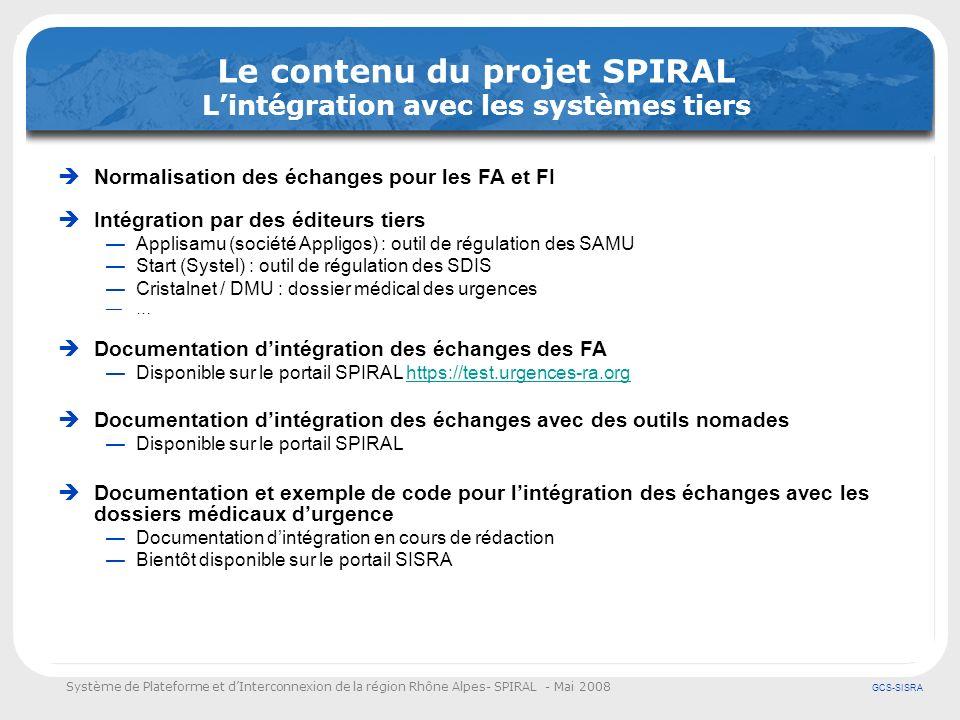 Le contenu du projet SPIRAL L'intégration avec les systèmes tiers