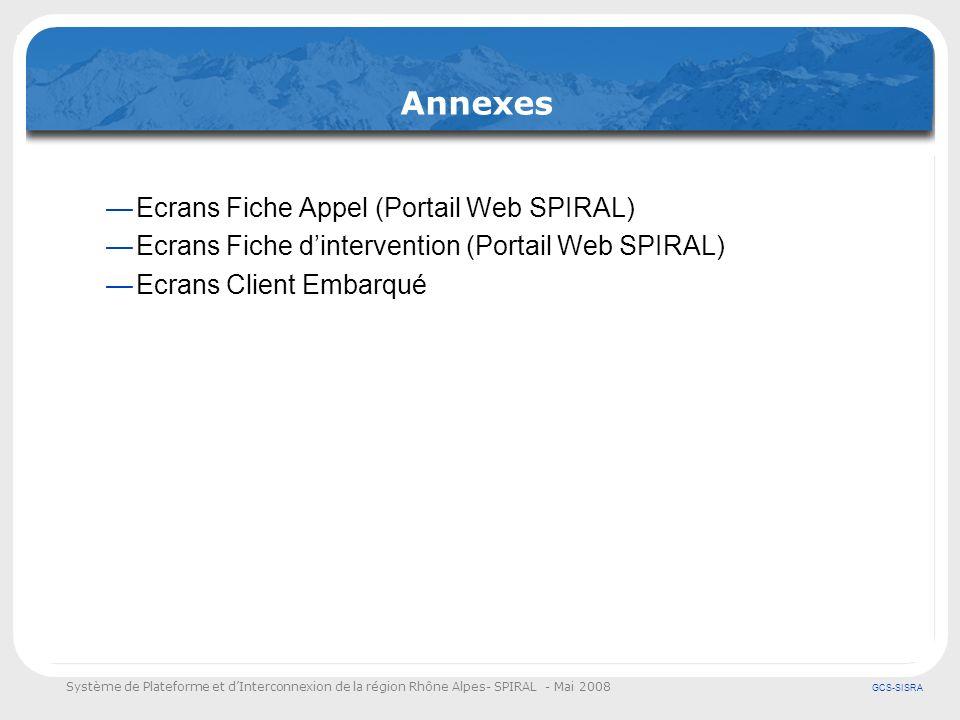 Annexes Ecrans Fiche Appel (Portail Web SPIRAL)