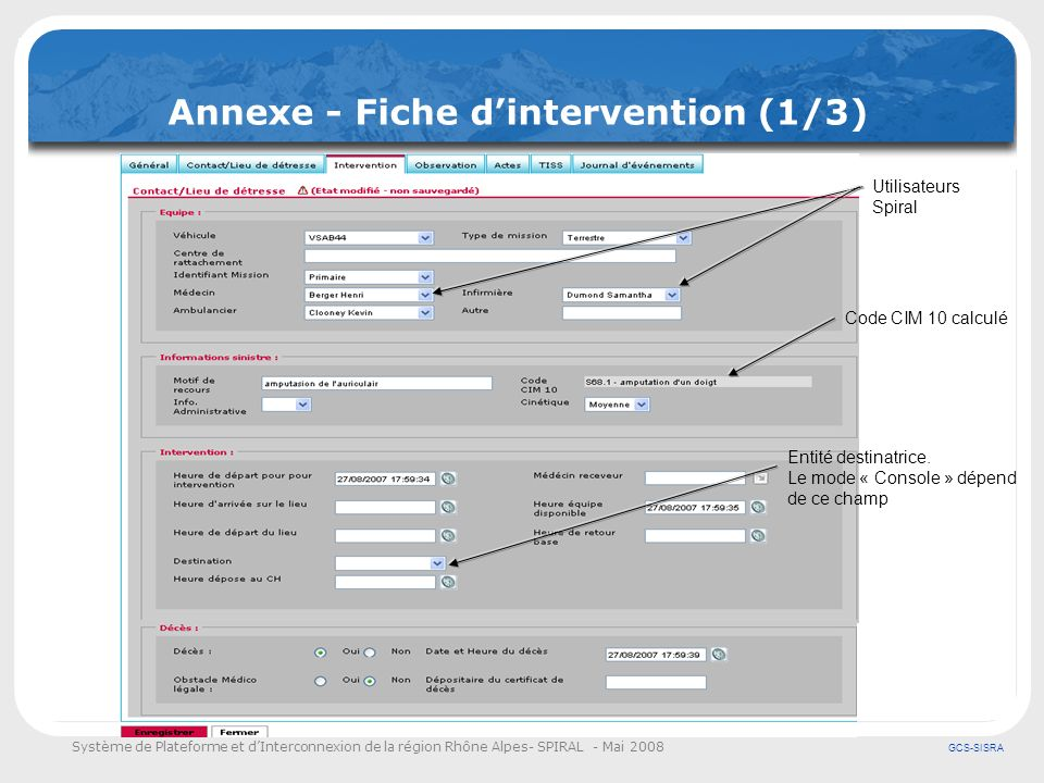Annexe - Fiche d'intervention (1/3)