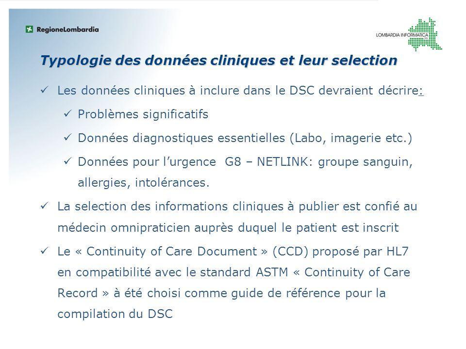Typologie des données cliniques et leur selection