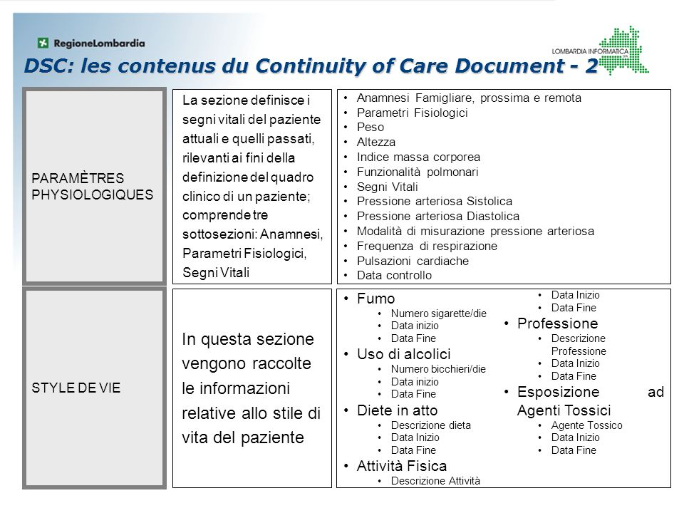 DSC: les contenus du Continuity of Care Document - 2