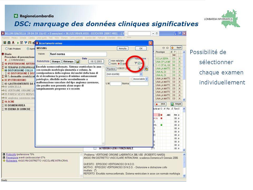 DSC: marquage des données cliniques significatives