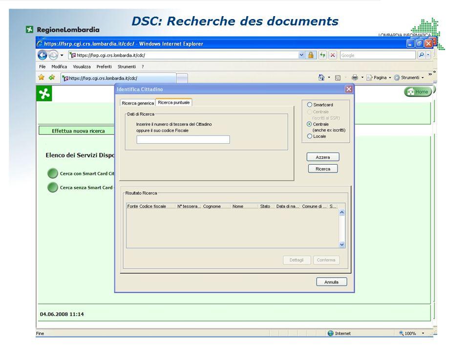 DSC: Recherche des documents