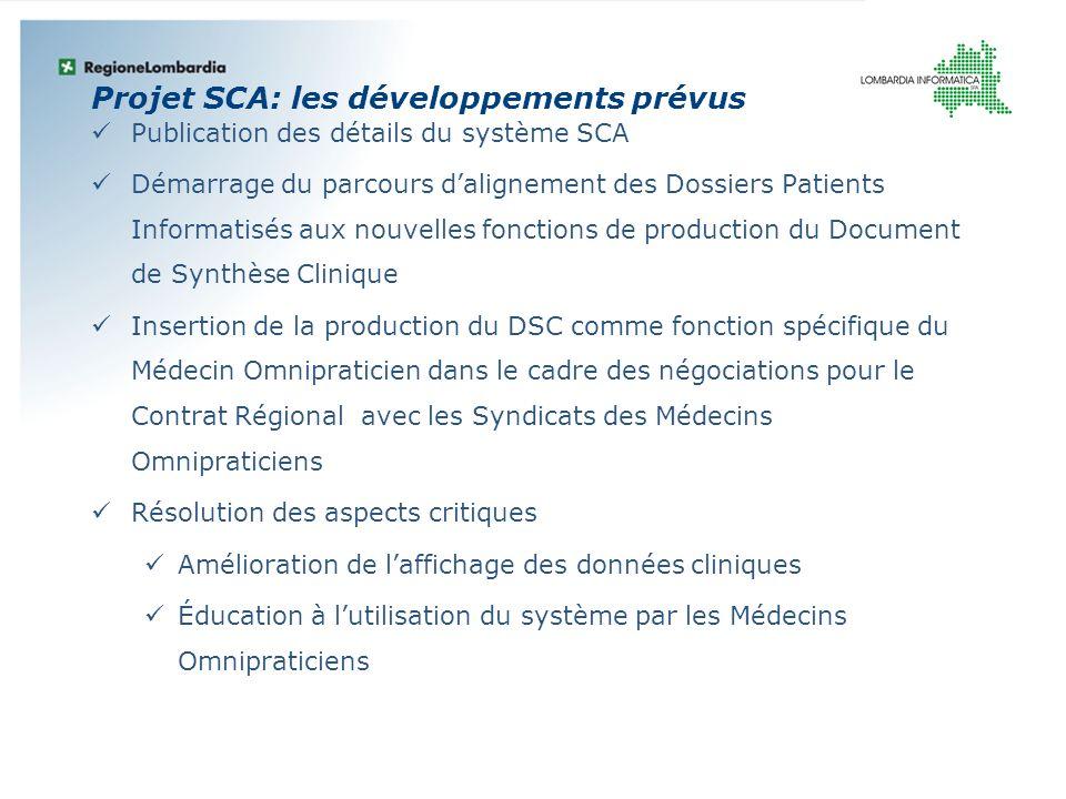 Projet SCA: les développements prévus