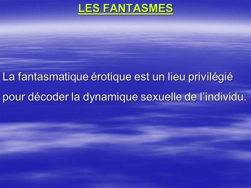 LES FANTASMES La fantasmatique érotique est un lieu privilégié pour décoder la dynamique sexuelle de l'individu.