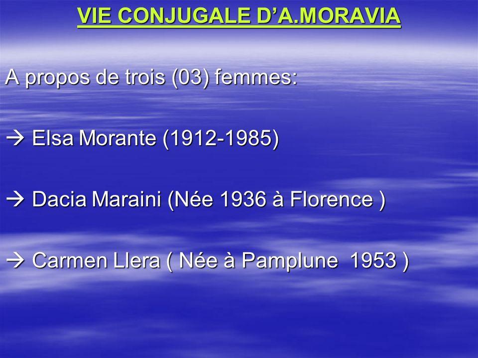 VIE CONJUGALE D'A.MORAVIA