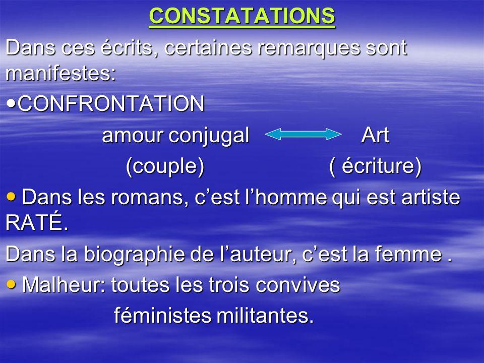 CONSTATATIONS Dans ces écrits, certaines remarques sont manifestes: CONFRONTATION. amour conjugal Art.