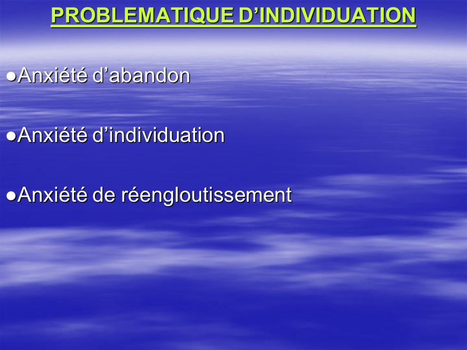 PROBLEMATIQUE D'INDIVIDUATION