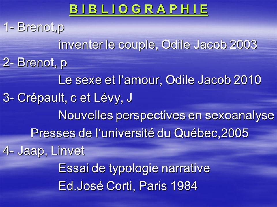 B I B L I O G R A P H I E 1- Brenot,p. inventer le couple, Odile Jacob 2003. 2- Brenot, p. Le sexe et l'amour, Odile Jacob 2010.