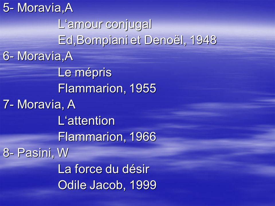 5- Moravia,A L'amour conjugal. Ed,Bompiani et Denoël, 1948. 6- Moravia,A. Le mépris. Flammarion, 1955.