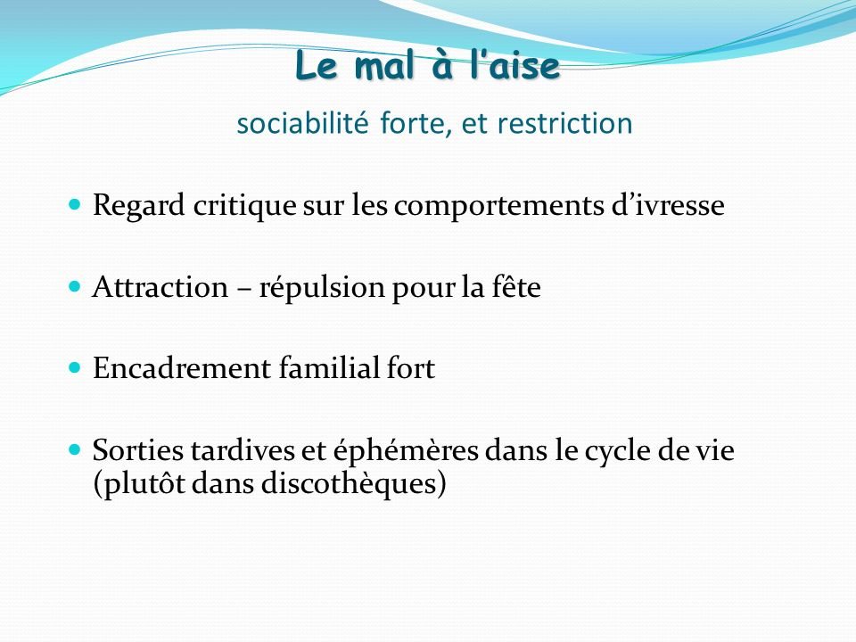 Le mal à l'aise sociabilité forte, et restriction