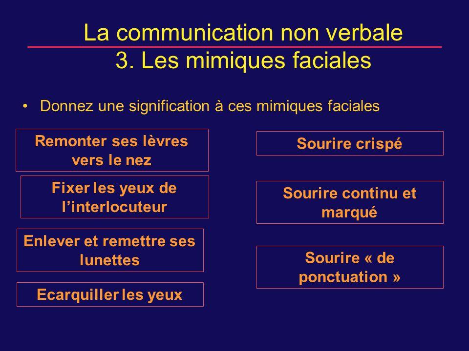 La communication non verbale 3. Les mimiques faciales