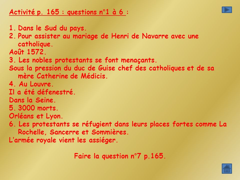 Activité p. 165 : questions n°1 à 6 :