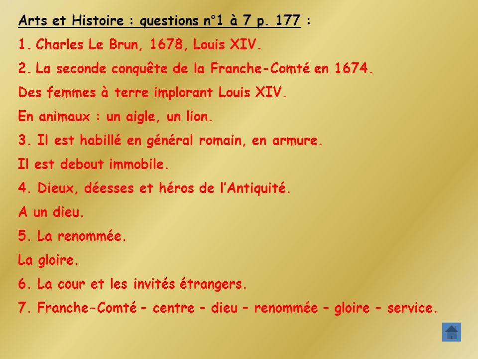Arts et Histoire : questions n°1 à 7 p. 177 :