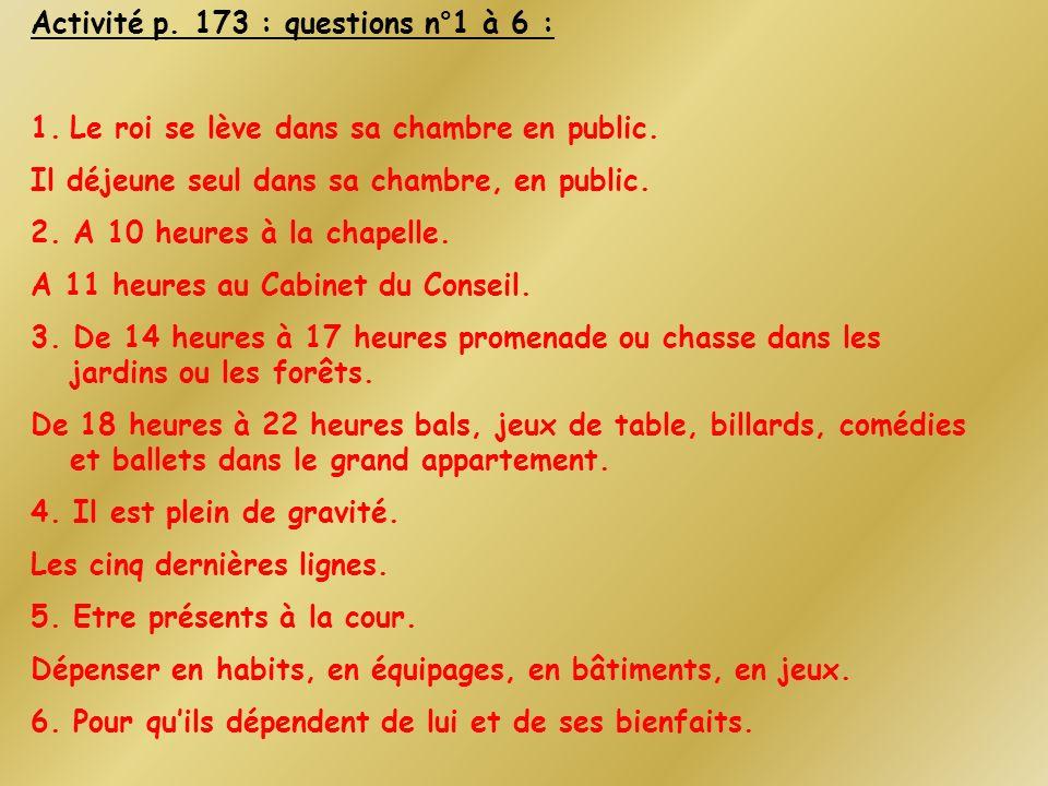 Activité p. 173 : questions n°1 à 6 :