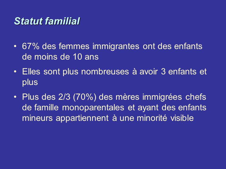 Statut familial 67% des femmes immigrantes ont des enfants de moins de 10 ans. Elles sont plus nombreuses à avoir 3 enfants et plus.