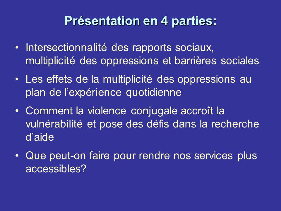 Présentation en 4 parties: