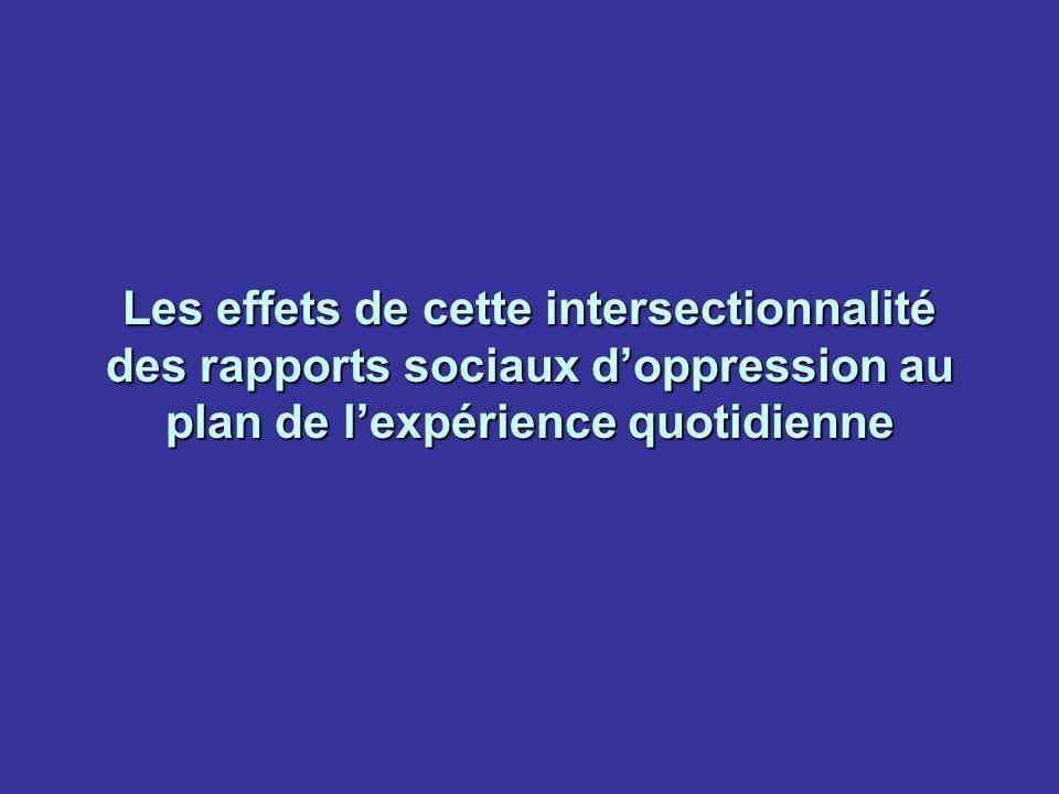 Les effets de cette intersectionnalité des rapports sociaux d'oppression au plan de l'expérience quotidienne
