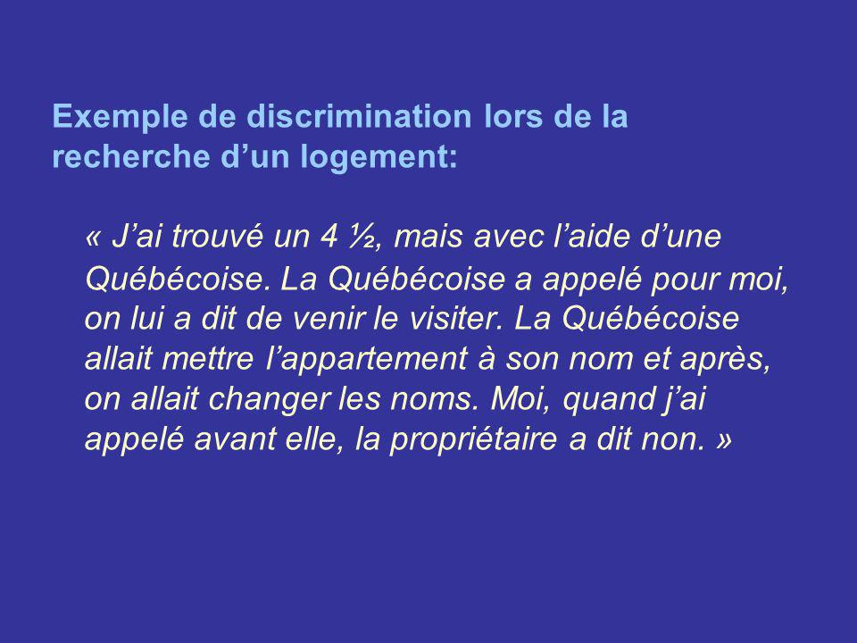 Exemple de discrimination lors de la