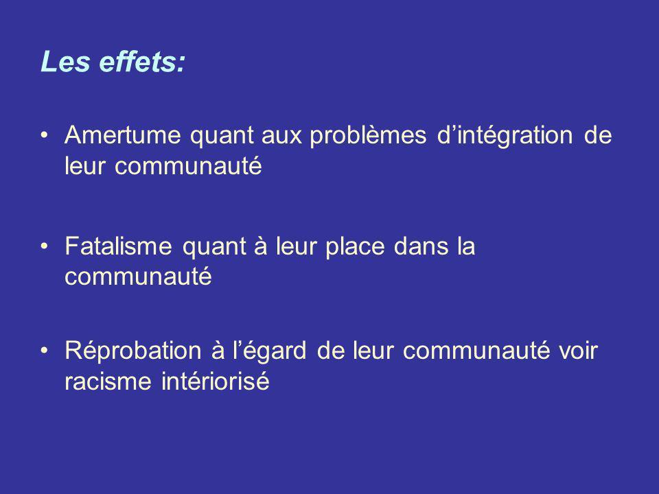 Les effets: Amertume quant aux problèmes d'intégration de leur communauté. Fatalisme quant à leur place dans la communauté.