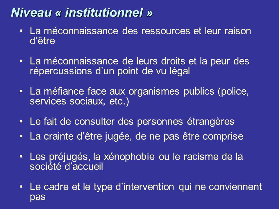Niveau « institutionnel »