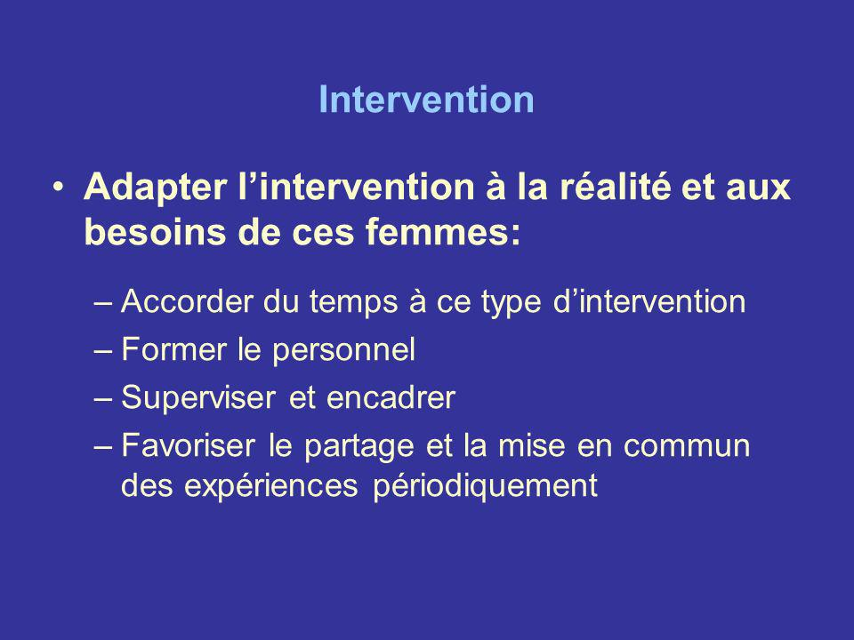 Adapter l'intervention à la réalité et aux besoins de ces femmes: