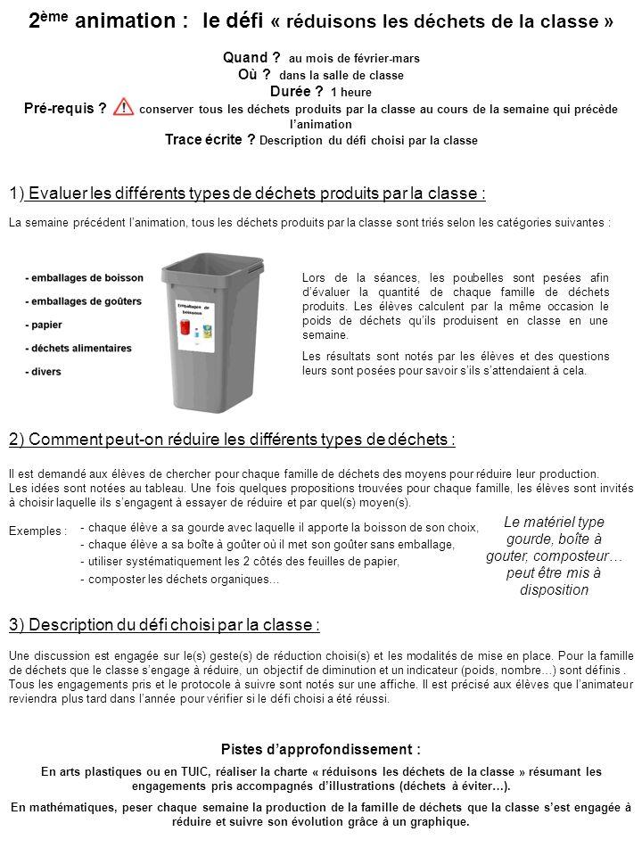 2ème animation : le défi « réduisons les déchets de la classe »