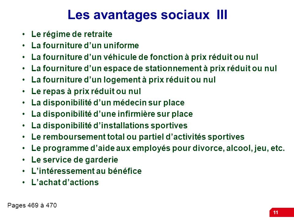 Les avantages sociaux III