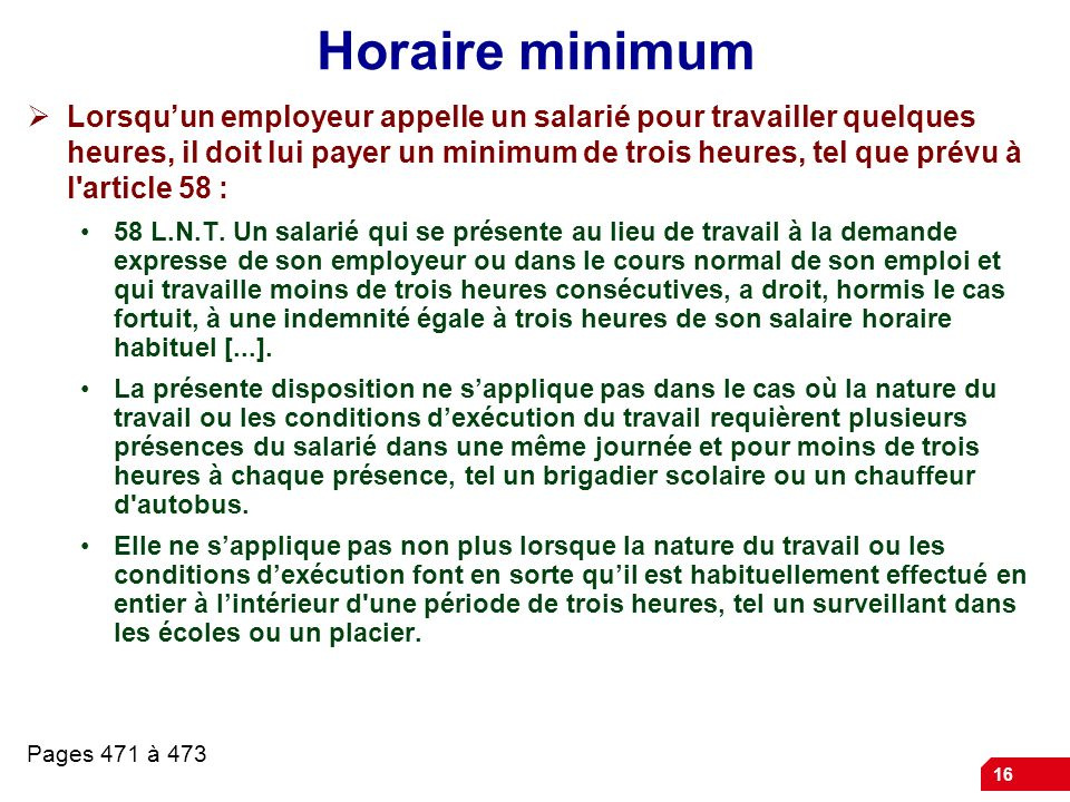 Horaire minimum