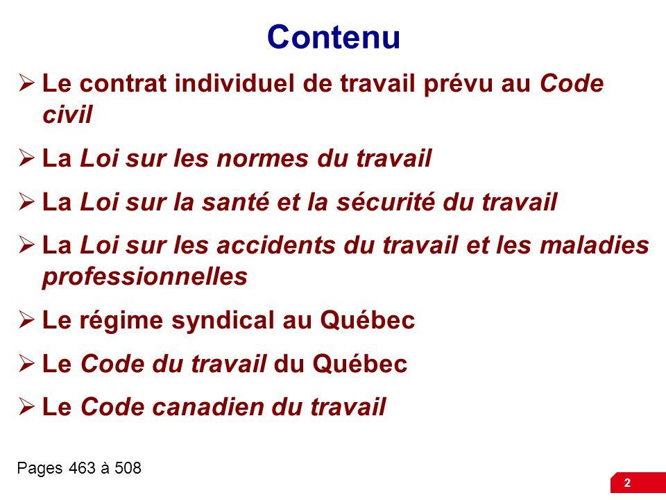 Contenu Le contrat individuel de travail prévu au Code civil
