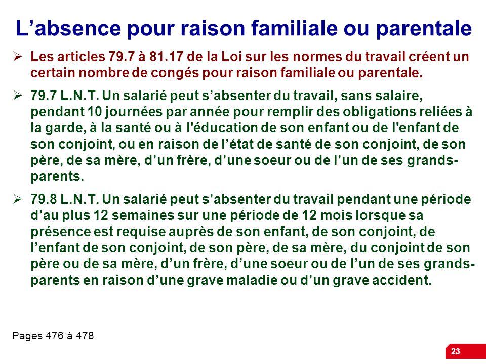 L'absence pour raison familiale ou parentale