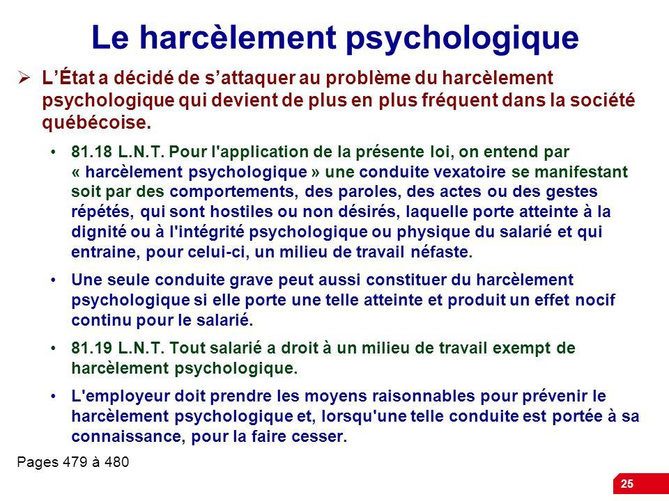 Le harcèlement psychologique