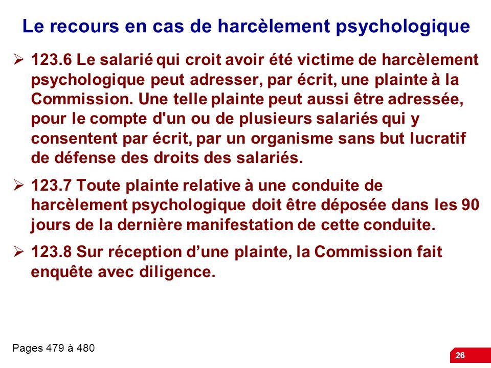 Le recours en cas de harcèlement psychologique