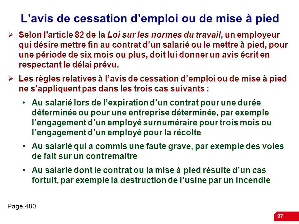 L'avis de cessation d'emploi ou de mise à pied