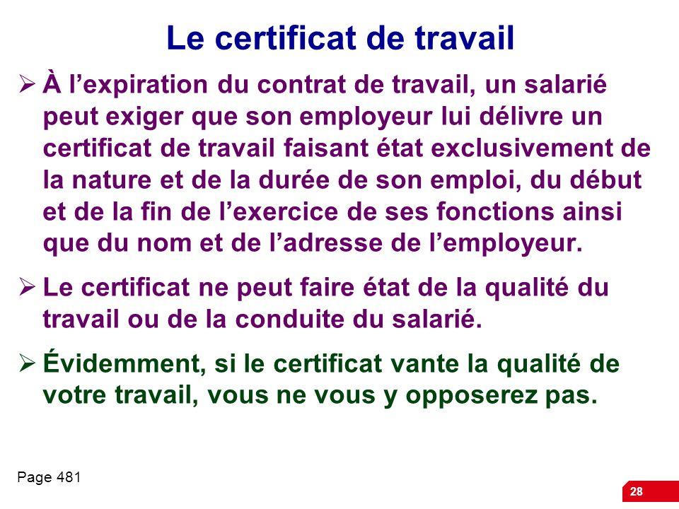 Le certificat de travail