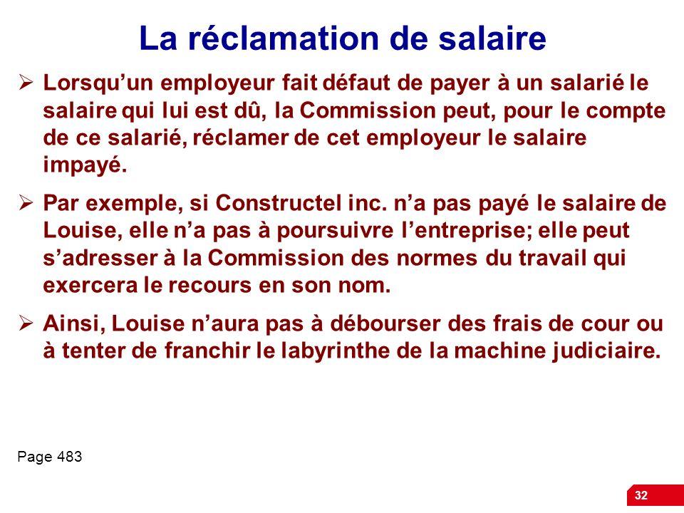 La réclamation de salaire