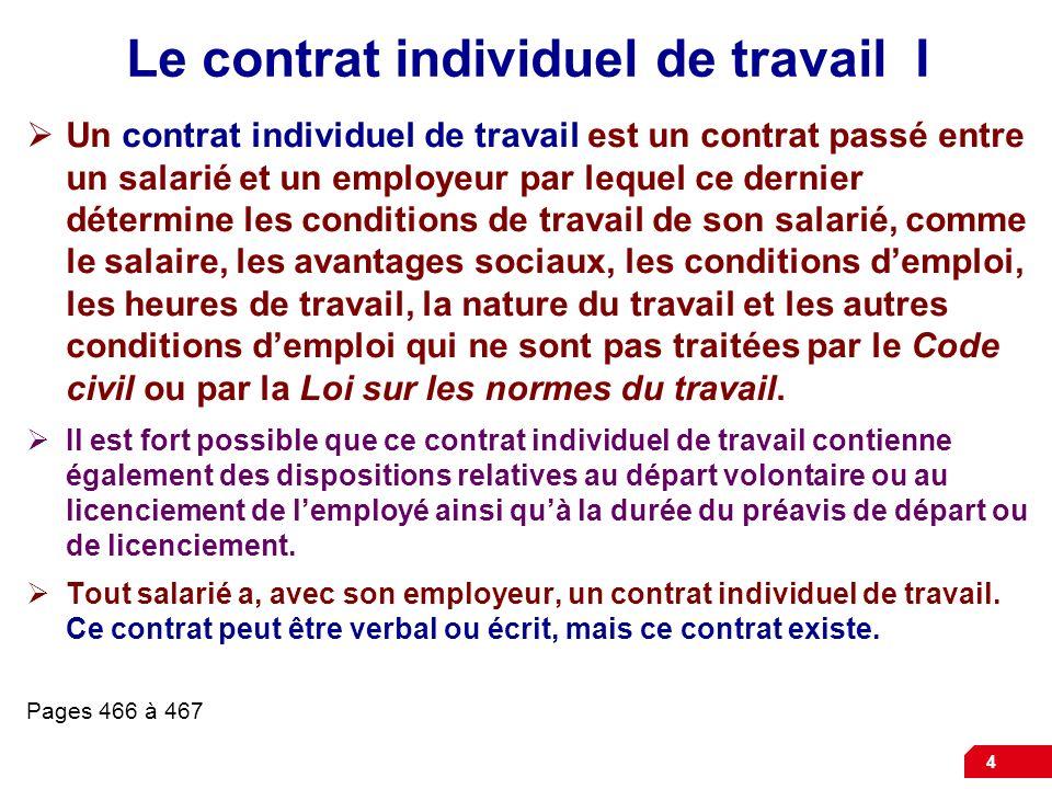 Le contrat individuel de travail I