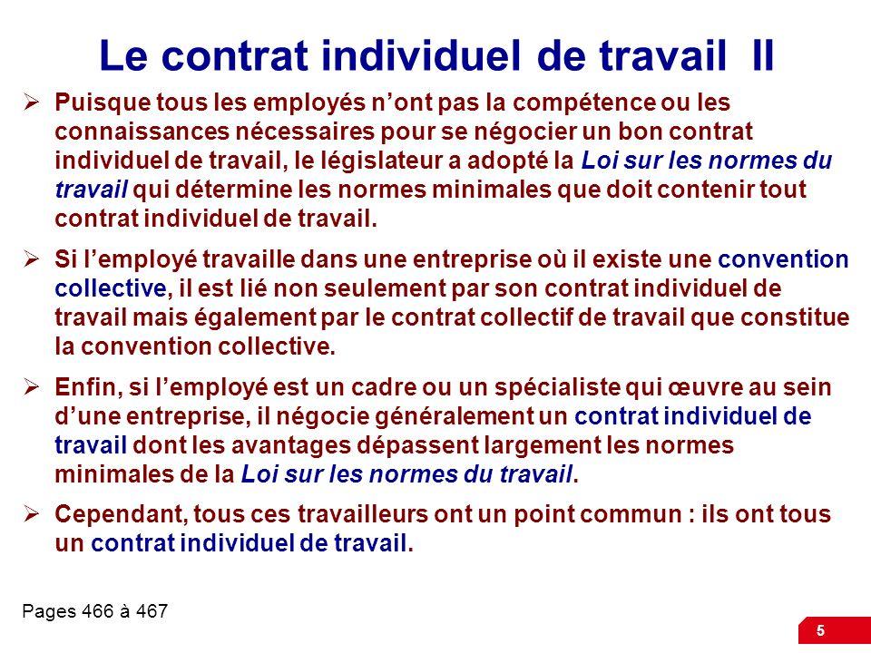 Le contrat individuel de travail II