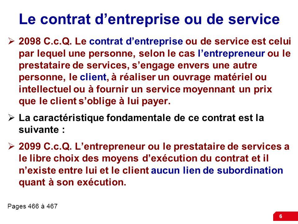 Le contrat d'entreprise ou de service