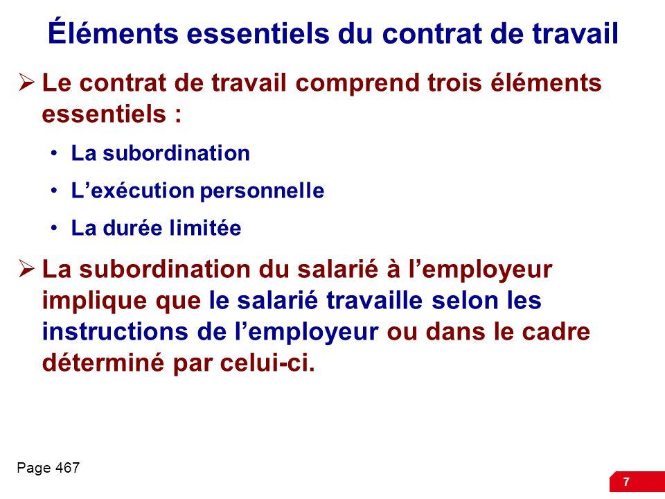 Éléments essentiels du contrat de travail