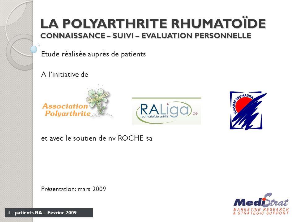 LA POLYARTHRITE RHUMATOÏDE CONNAISSANCE – SUIVI – EVALUATION PERSONNELLE