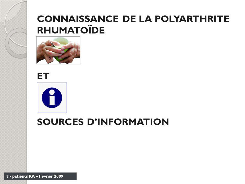 CONNAISSANCE DE LA POLYARTHRITE