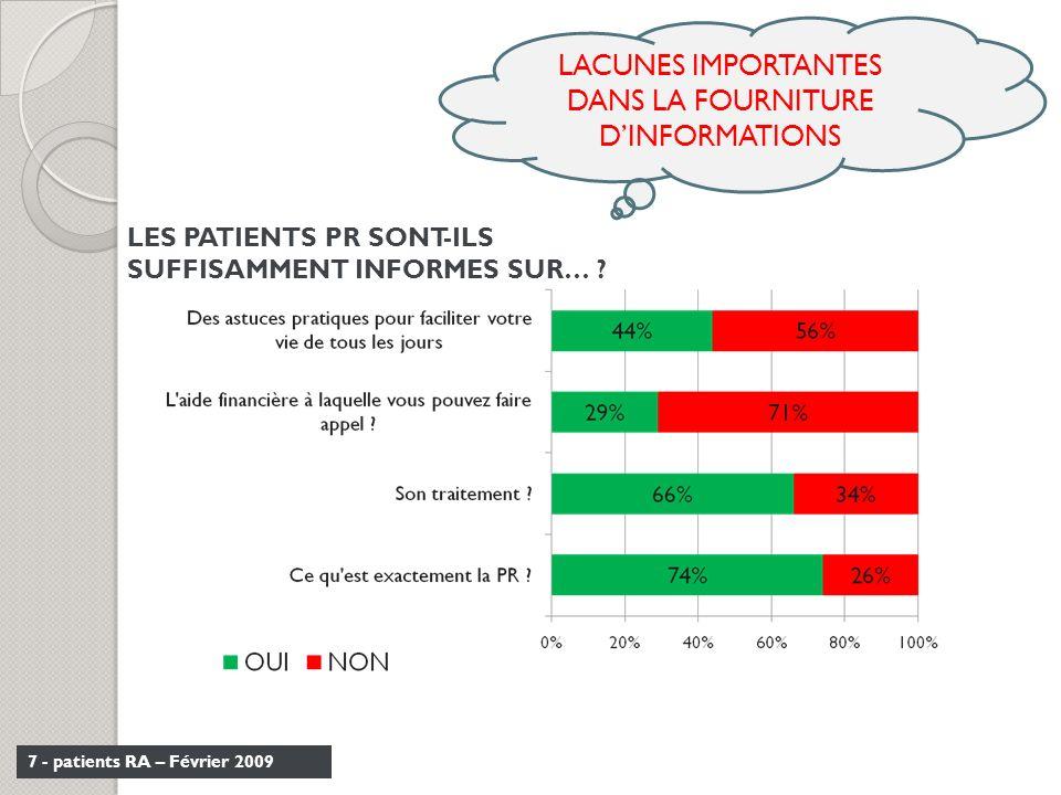 LACUNES IMPORTANTES DANS LA FOURNITURE D'INFORMATIONS