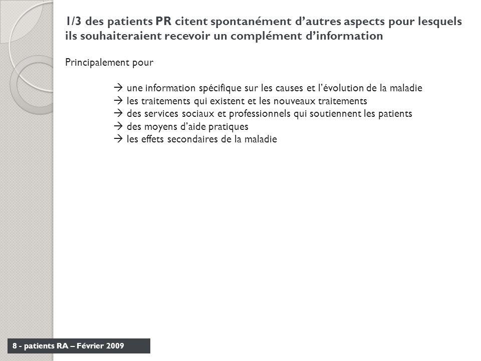 1/3 des patients PR citent spontanément d'autres aspects pour lesquels ils souhaiteraient recevoir un complément d'information