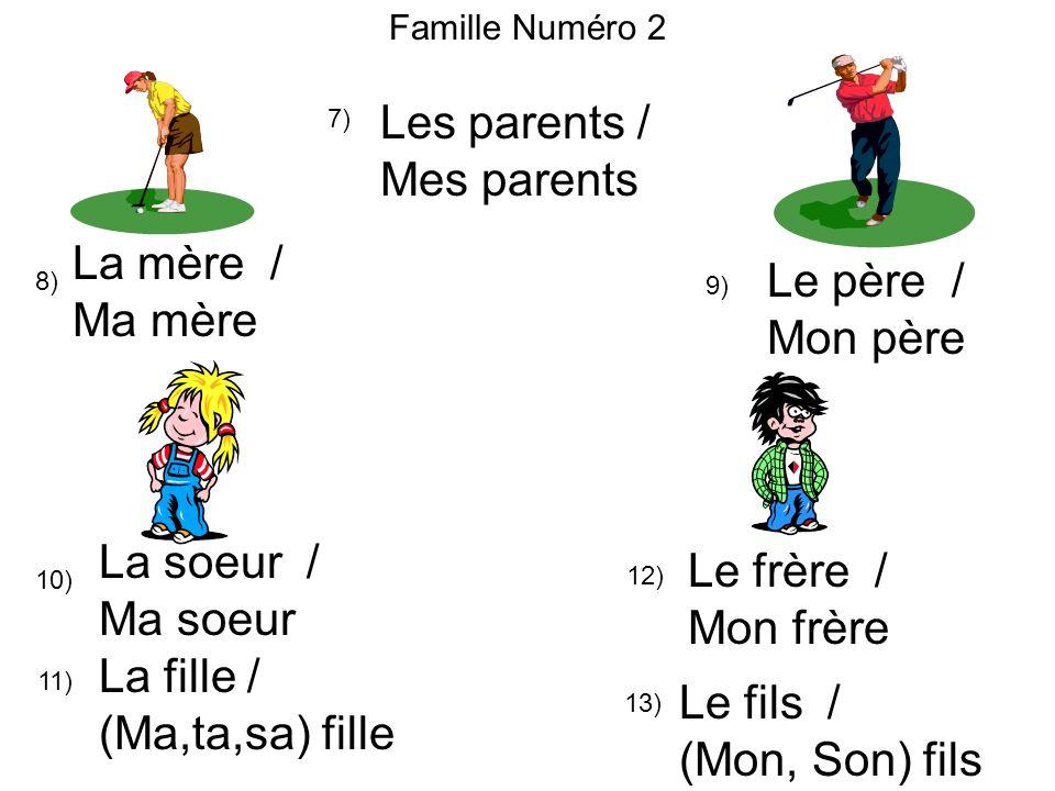 Les parents / Mes parents La mère / Le père / Ma mère Mon père