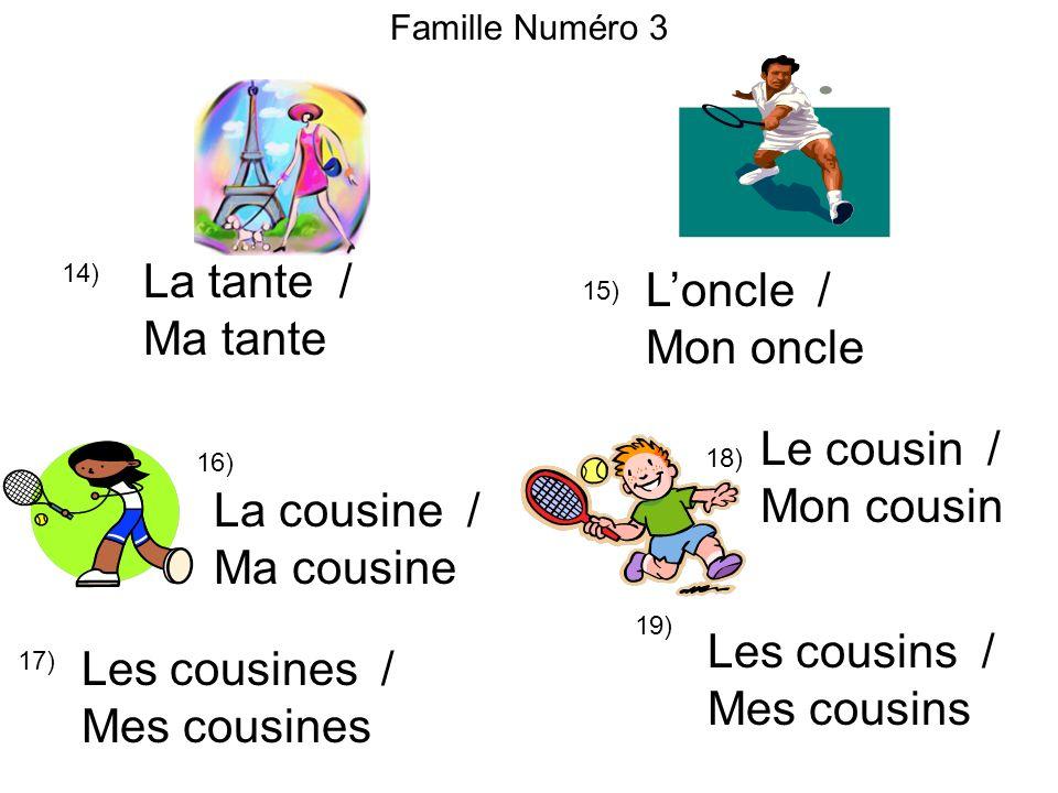 La tante / L'oncle / Ma tante Mon oncle Le cousin / Mon cousin
