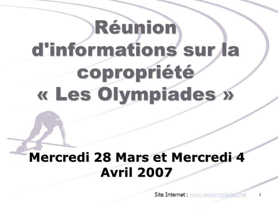 Réunion d informations sur la copropriété « Les Olympiades »
